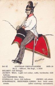 Austrian Chevaulegers Officer 5th Regiment Napoleonic War Uniform Postcard