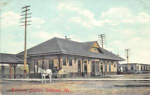 Old Town ME Railroad Station Train Depot Horse & Wagon Postcard