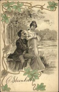 Ar Nouveau Romance - Couple in Nature - Junge Liebe 1233 c1905 Postcard