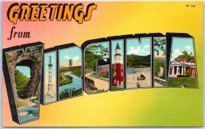 VIRGINIA Large Letter Postcard - Colorful Asheville PC Linen c1940s Unused