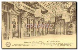 Brussels Old Postcard La Salle ghotique Gothic Room
