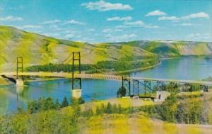 Canada Dunvegan Suspension Bridge Over Peace River Alberta