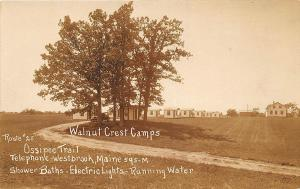 Standish ME Ossipee Trail Walnut Crest Camps Route 25 RPPC Postcard