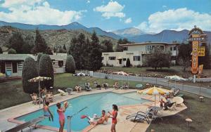 Colorado Springs CO~Rainbow Court Motel~Bathing Beauties at Pool~ART DECO~1950s