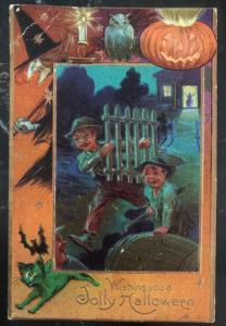 Mint Vintage USA Picture Postcard PPC Wishing You A Jolly Halloween Kids