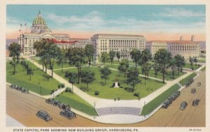 HARRISBURG, Pennsylvania , 1930-40s; State Capitol Park showing new building ...
