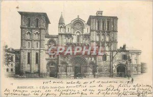 Postcard Old Bordeaux Church Holy Cross (map 1900)