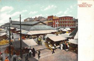 Baltimore Maryland Lexington Market Birdseye View Antique Postcard K97405