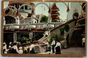 Vintage CONEY ISLAND New York Postcard Slide, LUNA PARK Amusement Park 1908