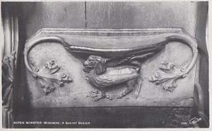 Bird A Quaint Design Misiere Antique Statue Rare Ripon Church Sculpture Postcard