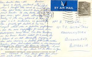 1970 Shakespeare Stratford Upon Avon Holy Trinity Anne Hathaway Postcard UK