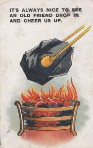 Stoking The Fire With Coal Log Antique Comic Postcard