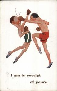 Skinny Guys Boxing Comic - Great Art c1920s Postcard