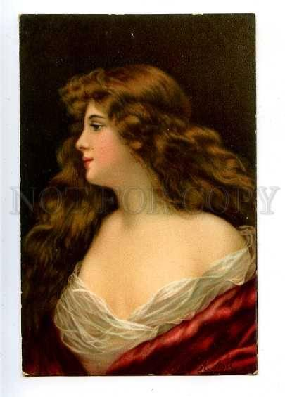 182602 Lady LONG HAIR in Red by Angelo ASTI vintage color PC