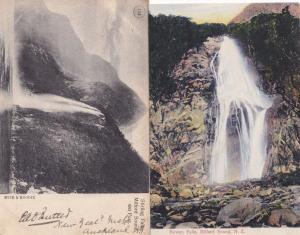 Stirling Fall Bowen Falls Milford New Zealand 2x Antique Postcard s