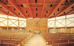 CHIMAYO, NM New Mexico  HOLY FAMILY CHURCH~Interior PEWS~ALTAR  Chrome Postcard