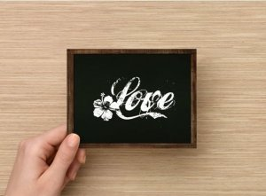 Set of 6  Postcards Blackboard Greetings - Love - Simple Expression