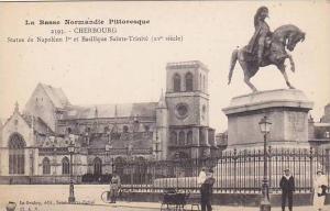 Statue De Napoleon 1er Et Basilique Sainte-Trinite (XV Siecle), Cherbourg (Ma...