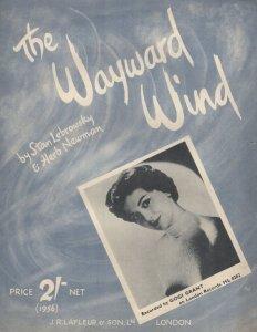 The Wayward Wind Gogi Grant 1950s Sheet Music