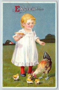 Country Easter~Lil Blonde Toddler Girl Tosses Chicken Feed~Hen & Chicks~NASH E40