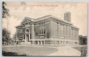 Connersville Indiana~Carnegie Public Library~Demolished~1915 B&W Postcard