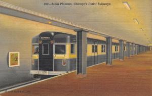 Chicago Illinois~Initial Subway~Express Train Platform~Conductor~1949 Linen PC