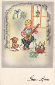 AS: Edy, Happy New Year, Buon Anno, Boy Playing The Lute, Dog, 1910-1920s