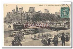 Paris (1) Old Postcard The bridge & # 39Arcole and & # City 39hotel (flower m...