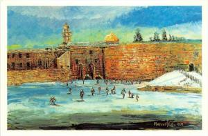 Painting by Morris Katz, people    skiing near building