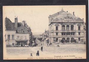 P1678 vintage 1918 autun-le theatre et I avenue de la gare france