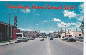Utah Greetings From Vernal Showing Main Street sk5859