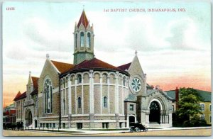 Indianapolis, IN Postcard First Baptist Church Building / Street View c1910s
