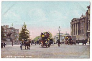 P1232 old england unused postcard horse & wagons people etc london hyde park