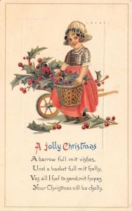 Freixas Christmas~Dutch Girl~Wheelbarrow Mit Vishes~Little Basket Holly~Emboss