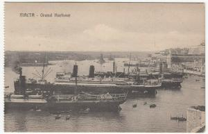 Malta; Grand Harbour PPC, Unposted, c 1910's, Shows Liners & Steamships