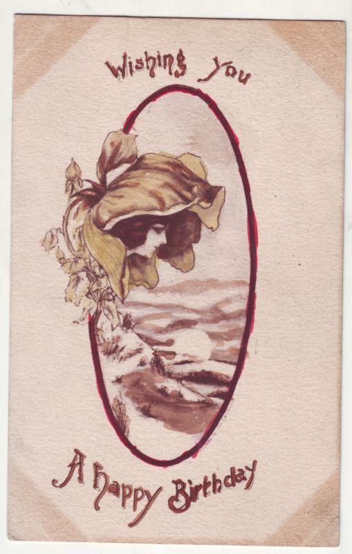 P320 JL 1910 postcard pretty woman a happy birthday