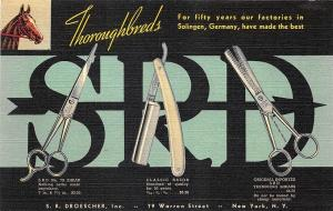 Richmond VA Kuhlman Co. Thoroughbreds Barber Razor Shaving Blades Curt Teich PC