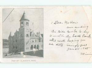 Pre-1907 very early view - POST OFFICE Augusta Maine ME n6814