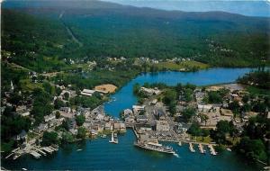 Wolfeboro New Hampshire~Aerial View Town on Lake Winnipesaukee~1950s