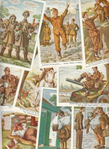 Artist signed military humour comic postcards soldiers army life postcards x 10