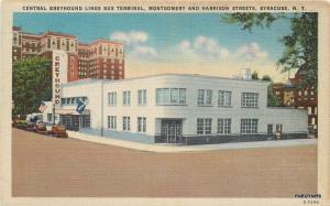 1940s Greyhound Bus Terminal roadside Syracuse New York Jubb postcard 4262