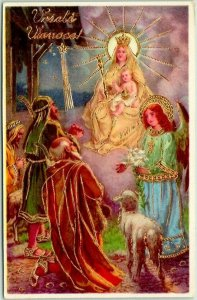 Croatian CHRISTMAS Greetings Postcard Jesus Angel Shepherds Vesele Vanoce!