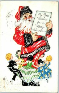 Vintage Christmas Postcard Children of Many Nations Dance Around SANTA CLAUS
