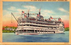 Ohio Cincinnati Coney Island Steamer Island Queen 1944 Curteich