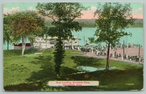 Springfield MA~Crowd Gathered at Riverside Park Boat Landing~Steamer~1915 PC