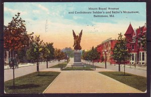 P1476 1914 used postcard confederate soldiers & sailors monument baltimore md