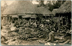 1910s PAGO PAGO, Samoa RPPC Real Photo Postcard Village Festival Scene Pig Roast