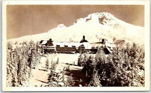 Oregon RPPC Real Photo Postcard TIMBERLINE LODGE Mount Hood View 1945 Cancel