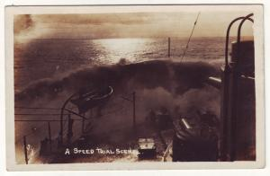 P696 warship rppc a speed trial scene, water over the bow