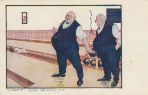 AS: A POODLE, Two large old men bowling, dog playing with ball, 1900-10s
